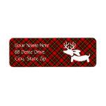 Reindeer Dachshund Red Plaid Return Address Labels