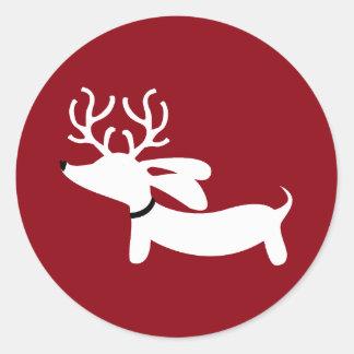 Reindeer Dachshund Wiener Dog Envelope Seal Classic Round Sticker
