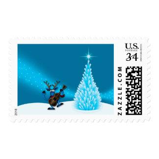 Reindeer Dancing Guitar Merry Christmas Tree Blue Postage Stamp
