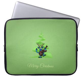 Reindeer Dancing Guitar Merry Christmas Tree Laptop Sleeve