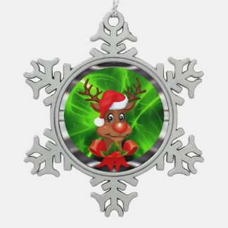 Reindeer decoration snowflake pewter christmas ornament