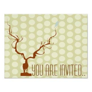"reindeer deer bird 4.25"" x 5.5"" invitation card"