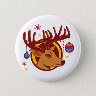 Reindeer / Deer / Christmas + your text & backgr. Button