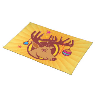 Reindeer / Deer / Christmas + your text & backgr. Placemat