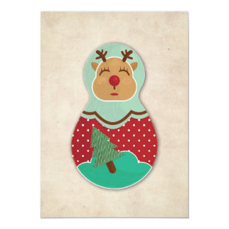 Reindeer, Deer, Russian doll, babushka, Matroshka Card