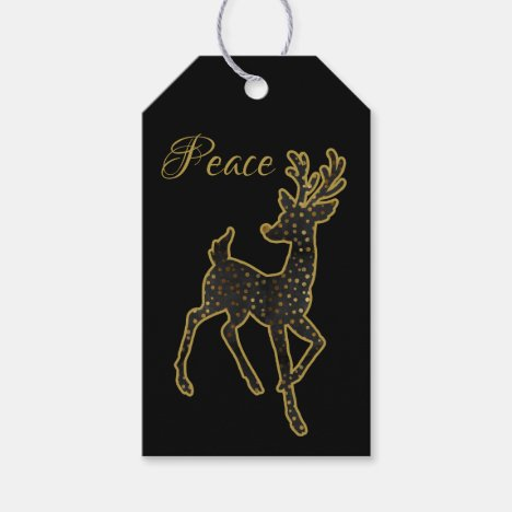 Reindeer Design/ Black & Gold/ Peace/ Gift Tag
