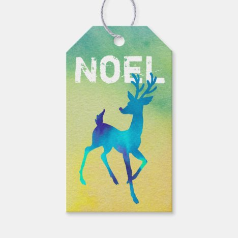Reindeer Design/ Blue Watercolor/ Noel/ Gift Tag