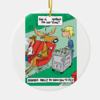 Reindeer DO know how to fly! Ceramic Ornament