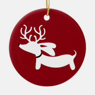 Reindeer Doxie on Red Christmas Ornaments