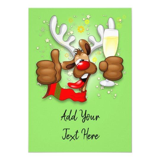 Reindeer Drunk Funny Christmas Character Invitation