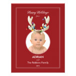 Reindeer Ears Baby's First Christmas Holiday Photo Invite