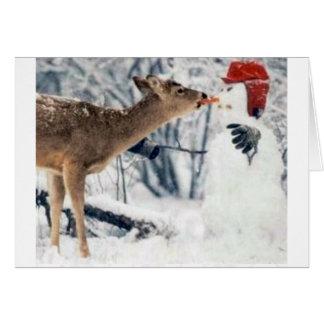 Reindeer Eating Snowman Card