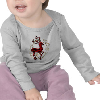 Reindeer elegant red gold infants tee shirts