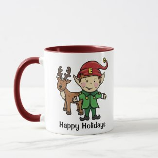 Reindeer & Elf Happy Holidays Mug