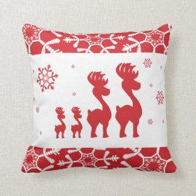 Reindeer Family Throw Pillow