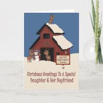 Reindeer Farm Daughter & Boyfriend Christmas Holiday Card