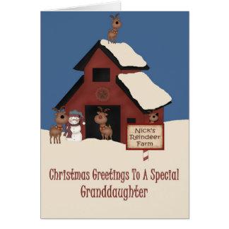 Reindeer Farm Granddaughter Christmas Card