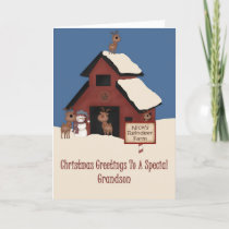 Reindeer Farm Grandson Christmas Holiday Card