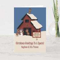 Reindeer Farm Nephew & Fiance Christmas Holiday Card