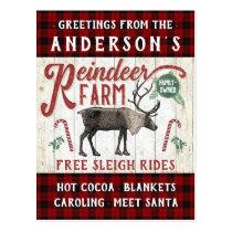 Reindeer Farm Rustic Vintage Farmhouse Custom Name Postcard