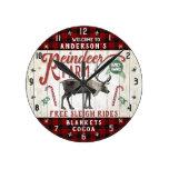 Reindeer Farm Rustic Vintage Farmhouse Custom Name Round Clock