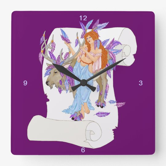 reindeer feathers square wall clock