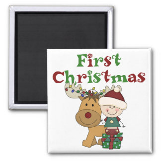 Reindeer First Christmas T-shirts and Gifts 2 Inch Square Magnet