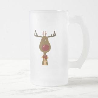 Reindeer Frosted Glass Beer Mug