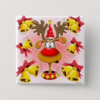 Reindeer Fun Christmas Cartoon with Bells Alarms Button