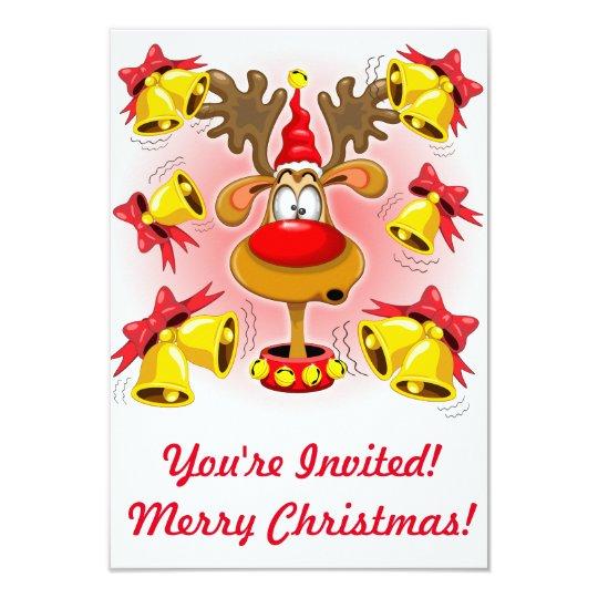 Reindeer Fun Christmas Cartoon with Bells Alarms Invitation