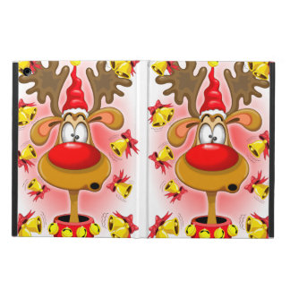 Reindeer Fun Christmas Cartoon with Bells Alarms iPad Air Cover