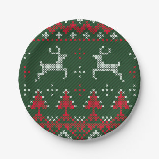 Reindeer Funny Christmas Ugly Sweater Paper Plates