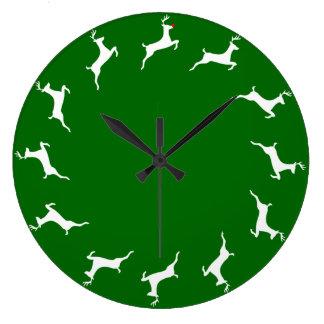 Reindeer Game Time Large Clock