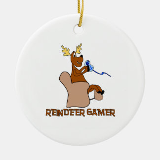 Reindeer Gamer Double-Sided Ceramic Round Christmas Ornament