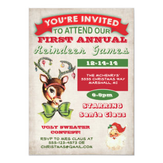 Reindeer Games Christmas Party Invitation at Zazzle