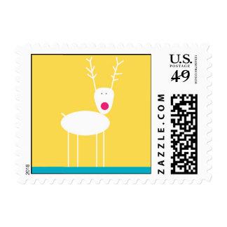Reindeer Gathering Yellow Postage Stamp