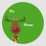 Reindeer Gift Tags Classic Round Sticker