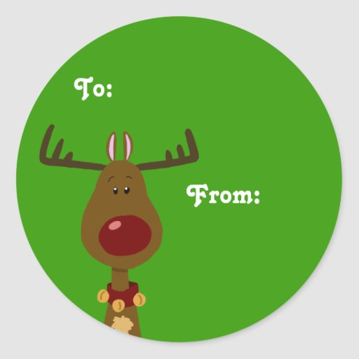 Reindeer gift tags classic round sticker zazzle