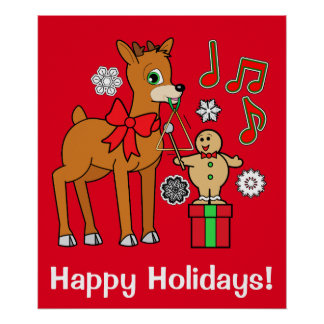 Reindeer & Gingerbread Boy Happy Holidays Poster