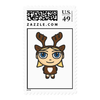 Reindeer Girl Cartoon Character Postage/Stamp