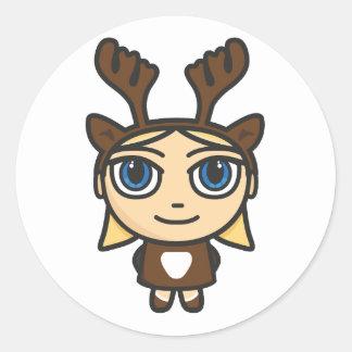 Reindeer Girl Cartoon Character Stickers