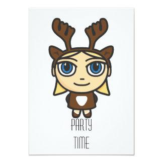 "Reindeer Girl Cartoon Party Time Invitation 5"" X 7"" Invitation Card"