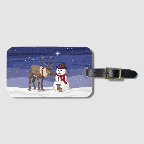 Reindeer Giving Rabbit Snowman Carrot Nose Bag Tag