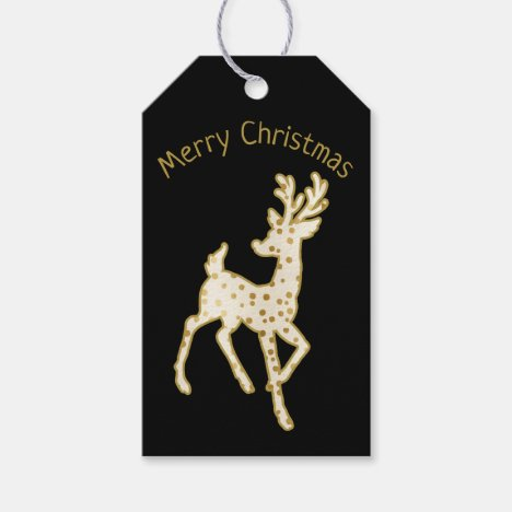 Reindeer/Gold and White Merry Christmas / Gift Tag