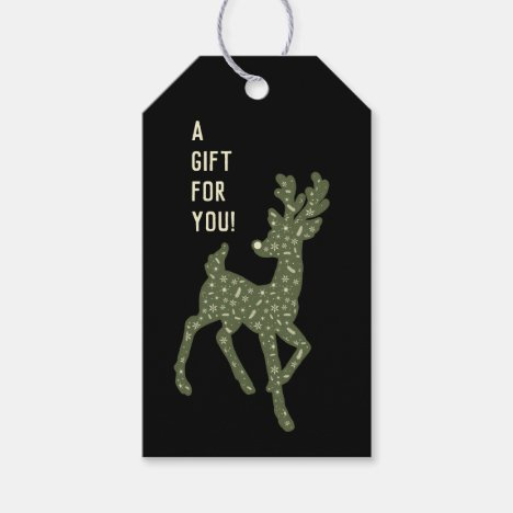 Reindeer/Green and White/ Gift for You/Gift Tag