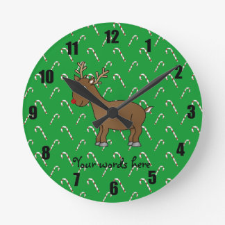 Reindeer green candy canes wall clocks