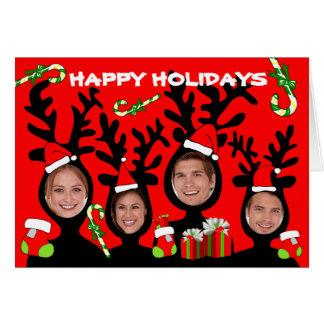 Reindeer Happy Holidays Add Photo Card 1