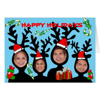 Reindeer Happy Holidays Add Photo Card 2