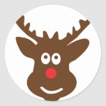 reindeer head antler round stickers