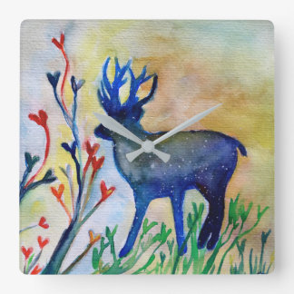 Reindeer Hearts Watercolor Square Wall Clock